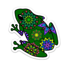 "Frog Die Cut Sticker (4"", Green Mandala)"