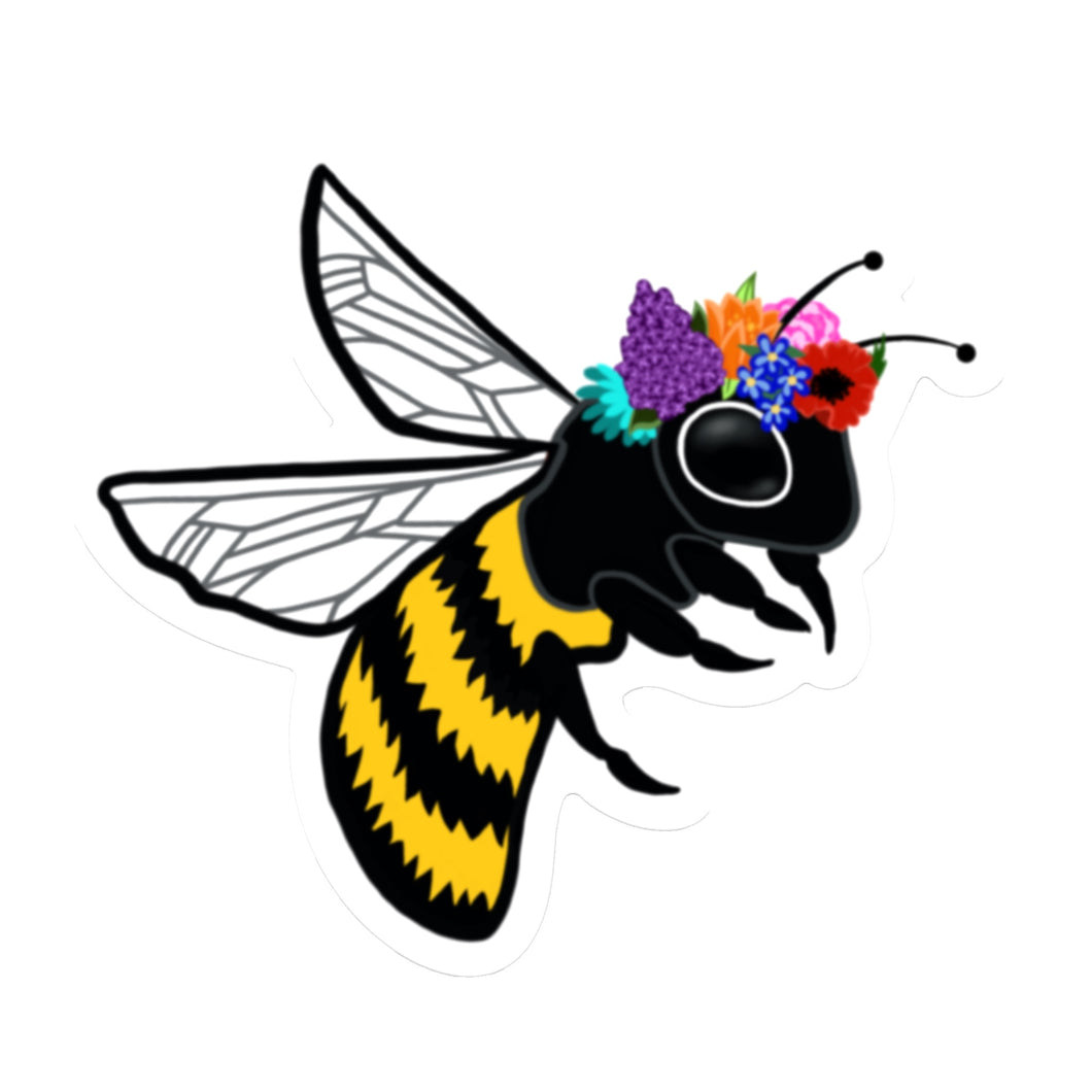 Bee with Flower Crown Die Cut Sticker (3