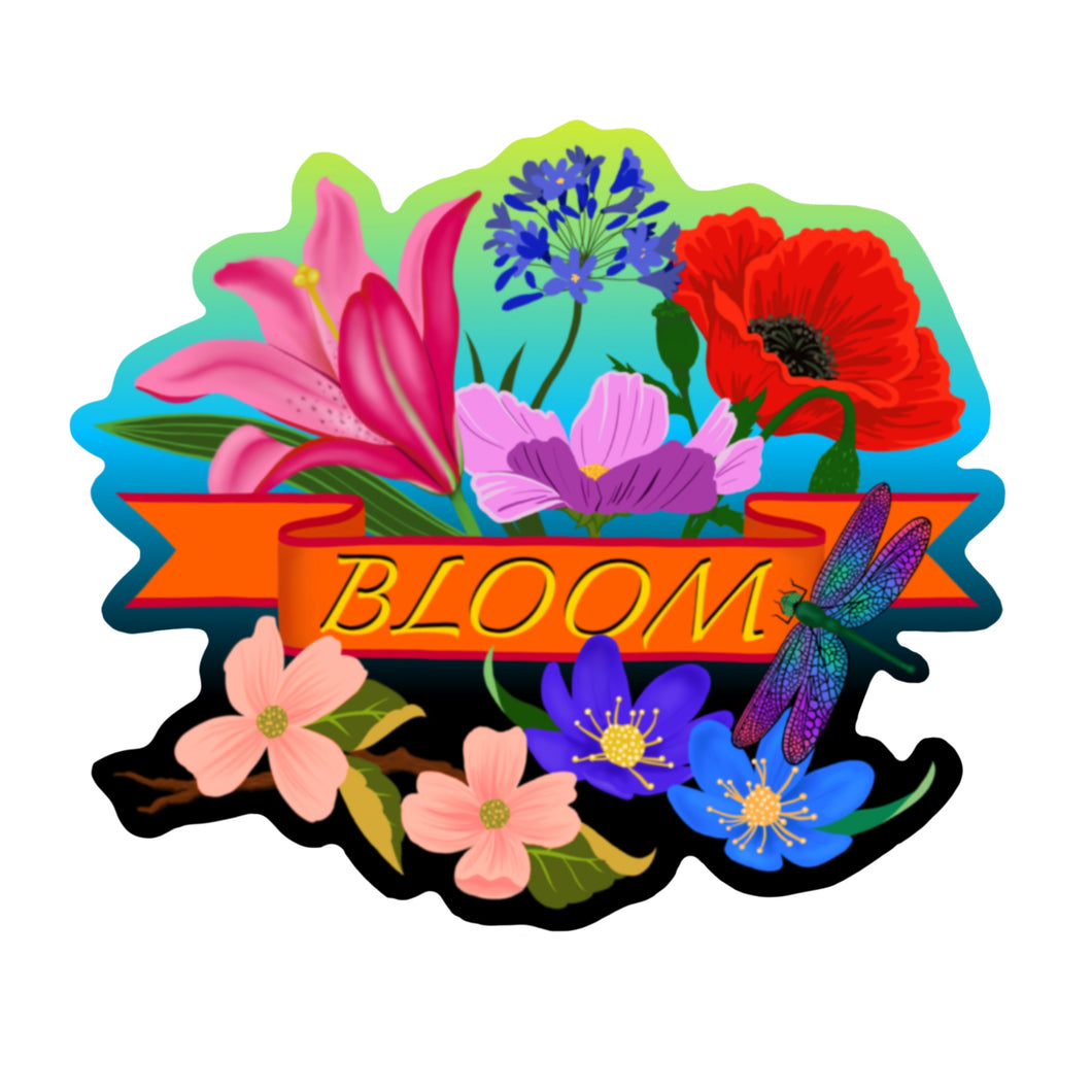 BLOOM Die Cut Sticker (Orange Banner, 5