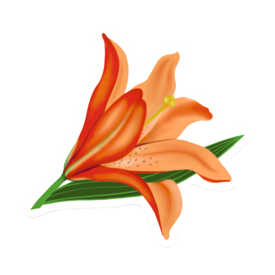 Orange Lily Die Cut Sticker (3