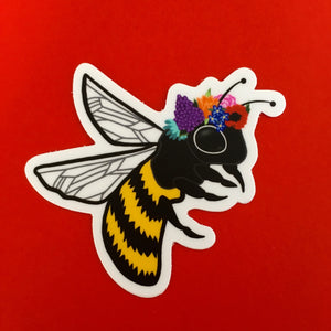 "Bee with Flower Crown Die Cut Sticker (3"")"