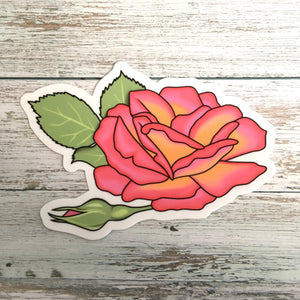 "Pink Rose Die Cut Sticker (4"")"