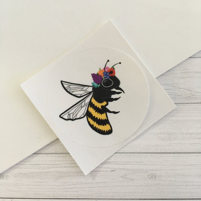 Bee with Flower Crown Circle Sticker (1.5