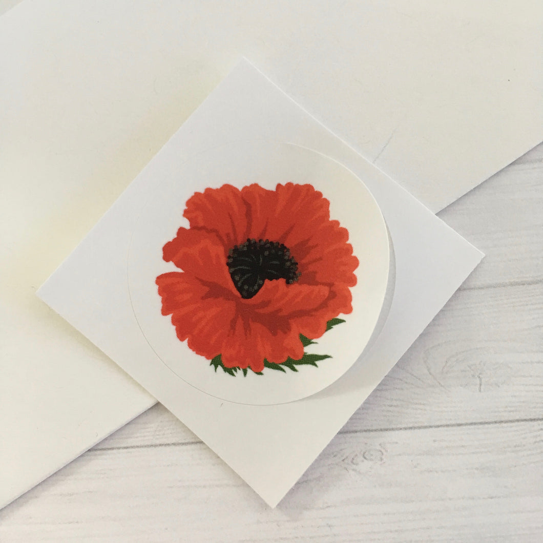 Red Poppy Circle Sticker (1.5