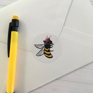 "Bee with Flower Crown Circle Sticker (1.5"")"