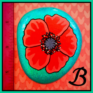 Red and Teal Poppy Rocks