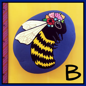 Bee with Flower Crown Rocks