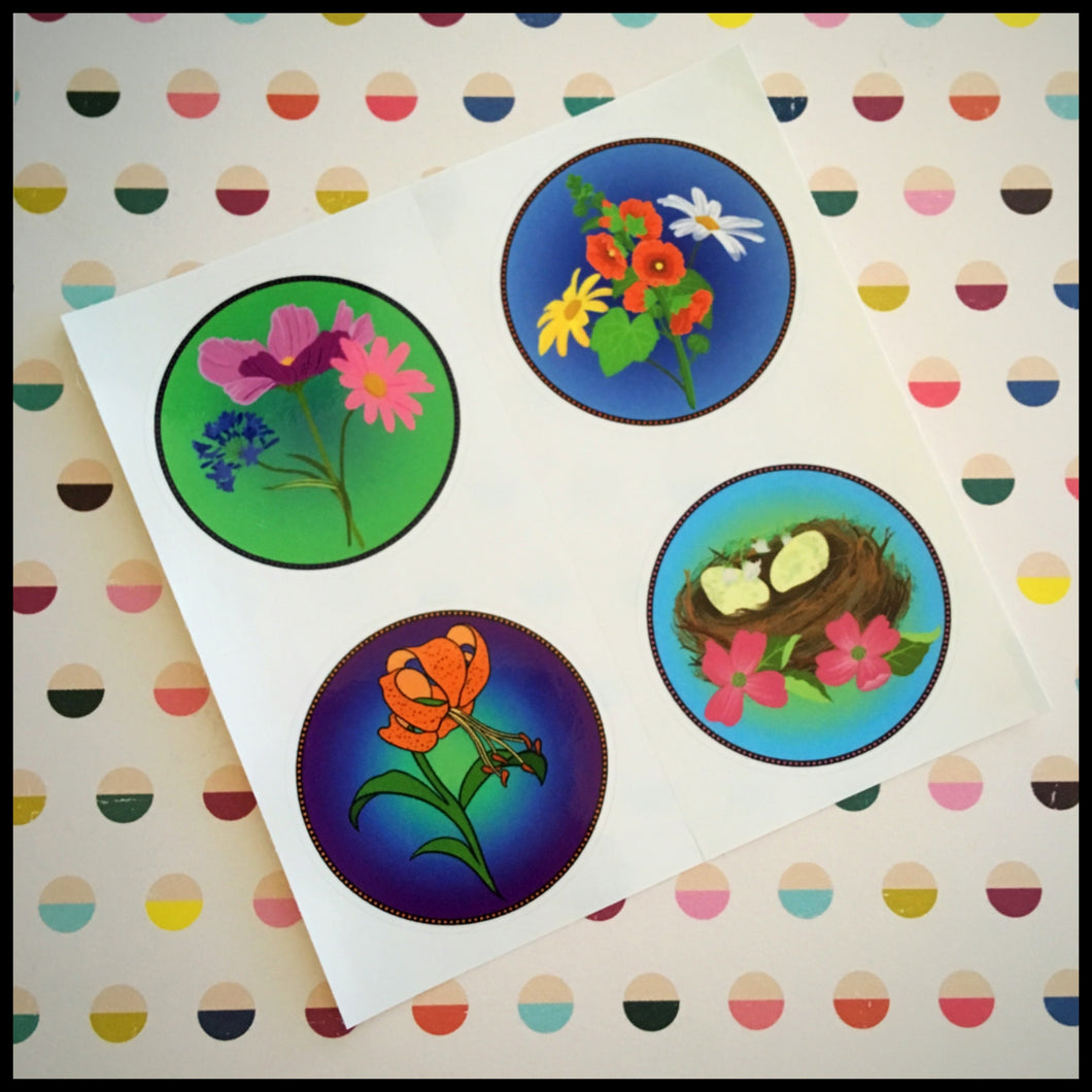 Floral Whimsy Circle Stickers (1.5