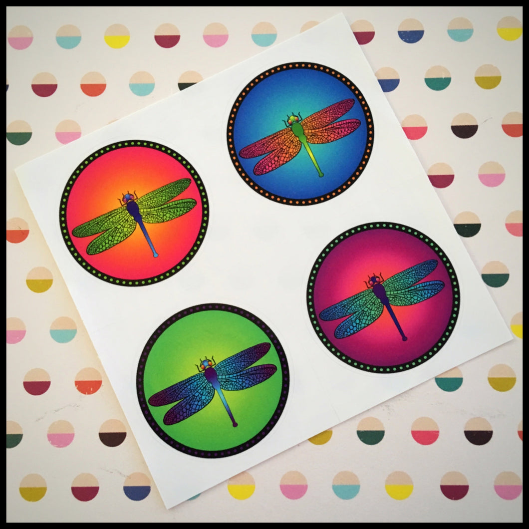 Bright Dragonfly Circle Stickers (1.5