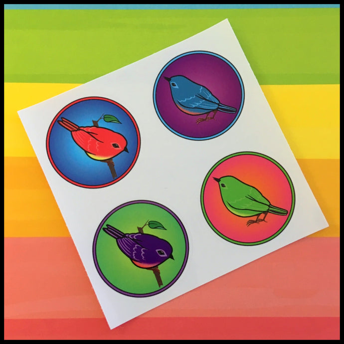 Colorful Songbird Circle Stickers (1.5