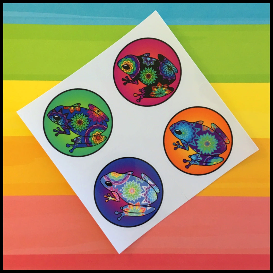 Mandala Frog Circle Stickers (1.5
