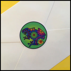 "Mandala Frog Circle Stickers (1.5"")"