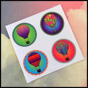 "Hot Air Balloon Circle Stickers (1.5"")"