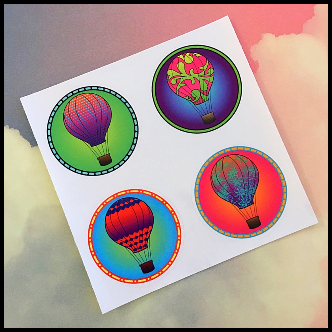 Hot Air Balloon Circle Stickers (1.5