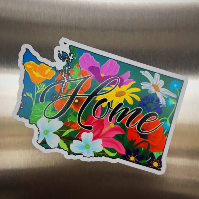 Floral Washington State Magnet (4