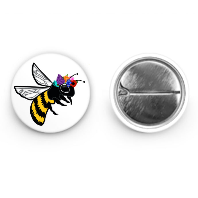Bee with Flower Crown Button (1