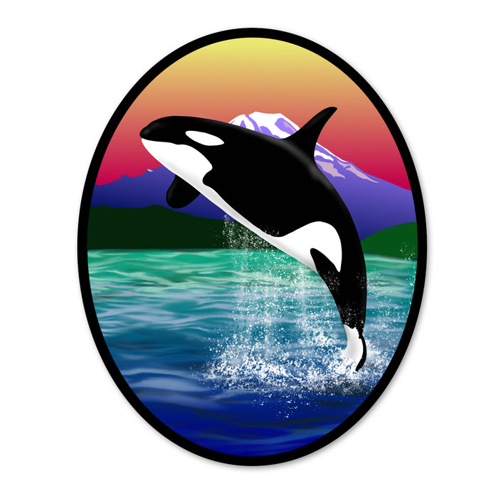Orca Breaching Oval Sticker (3