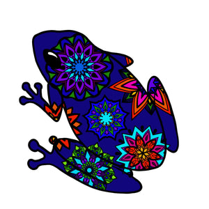 "Frog Die Cut Sticker (4"" Blue Mandala)"