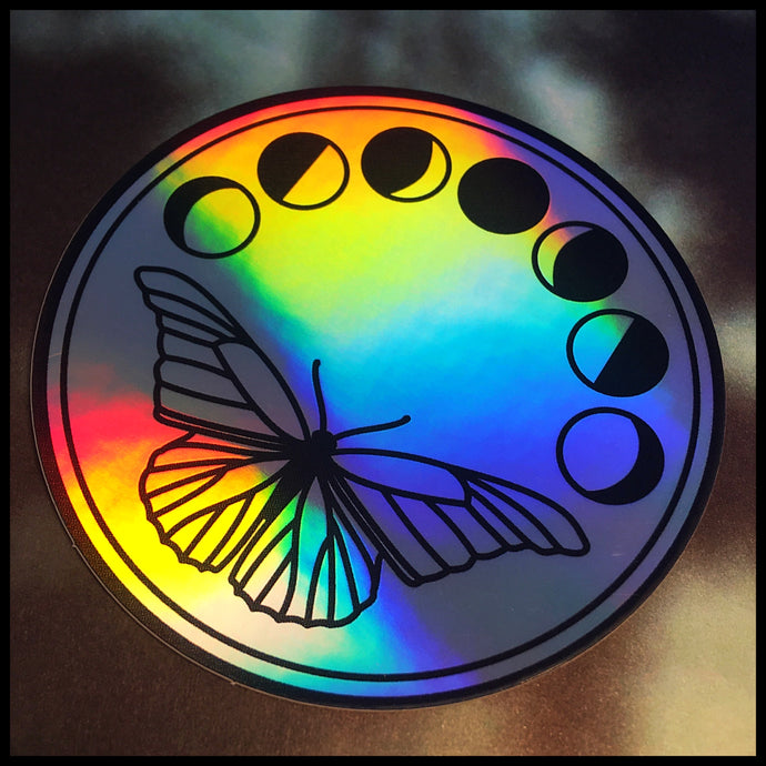 Moon and Moth Holographic Sticker (3