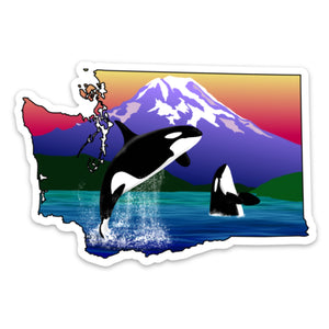 "Washington State Orca Magnet (4"" x 2.69"")"
