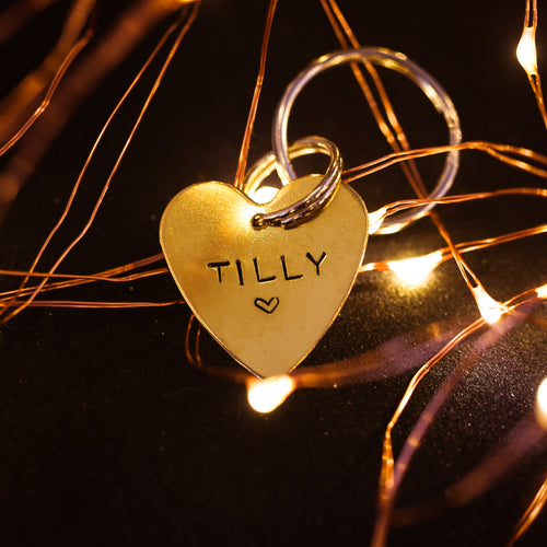 Golden Hand-stamped Heart ID Tag