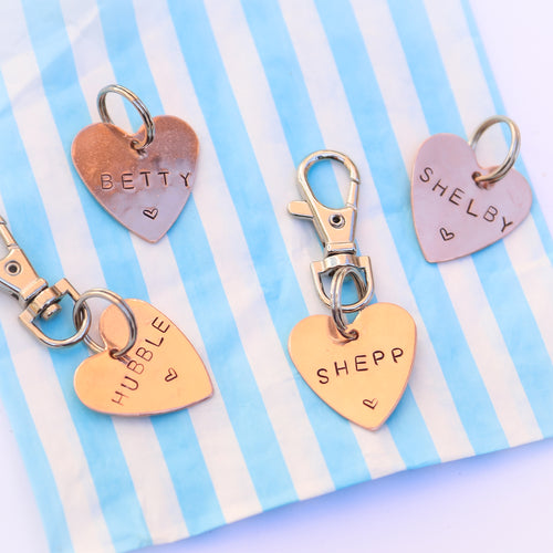 Rose Gold Hand-stamped Heart ID Tag