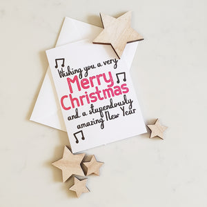 Merry Christmas - Pink Christmas Card