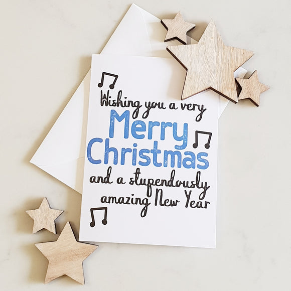 Merry Christmas - Blue Christmas Card