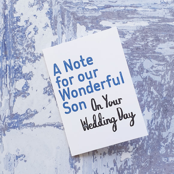 A note to our Son on your Wedding Day notelet