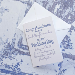 Wedding Congratulations to our Son and Daughter in Law Greeting Card