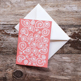 Ammonite Love Notelet Greeting Card - Coral
