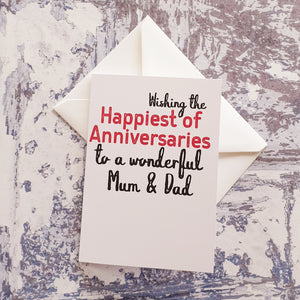 Mum and Dad Anniversary Greeting Card