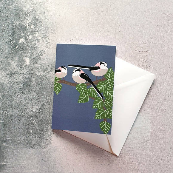 Long Tailed Tits notelet greeting card