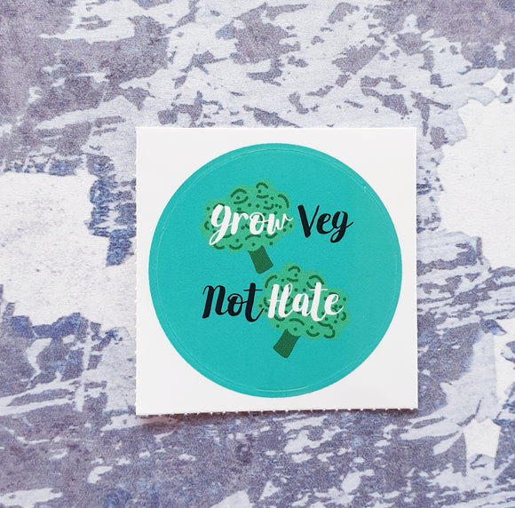 Grow Veg Not Hate 38mm Vinyl Sticker