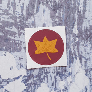 Yellow leaf 38mm Vinyl Sticker