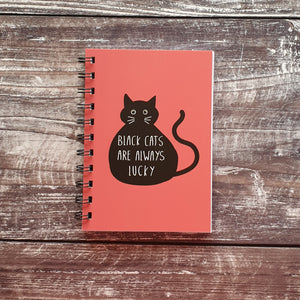 Black Cats are Always Lucky - Pink A6 Notebooks