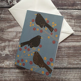 Blackbirds and Berries Notelet Greeting Card