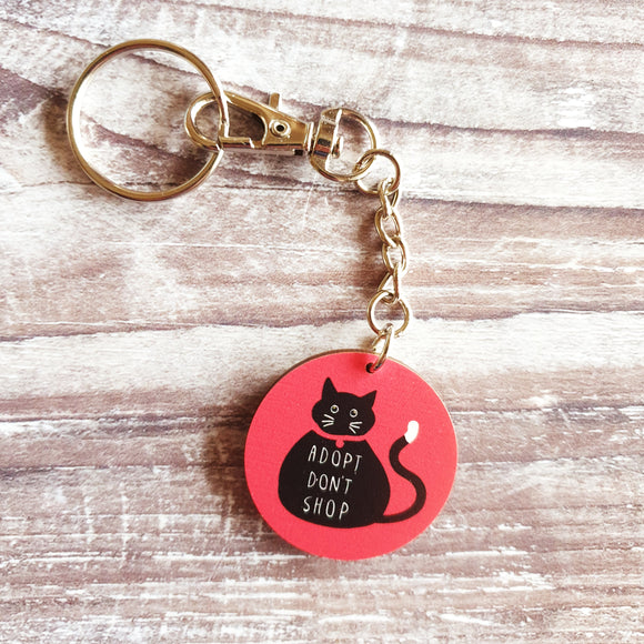 Adopt Don't Shop Wooden Keyring