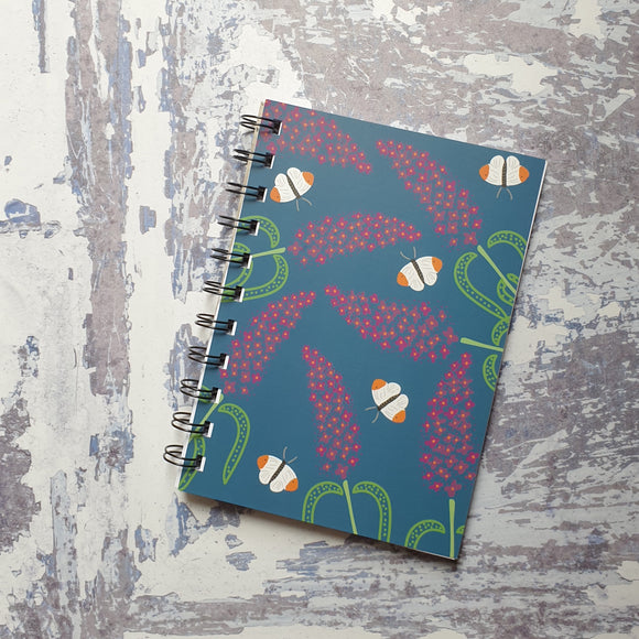 Buddleia Love - blue A6 Notebook