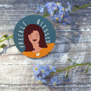 Freckle Blessed Wooden Lapel Pin