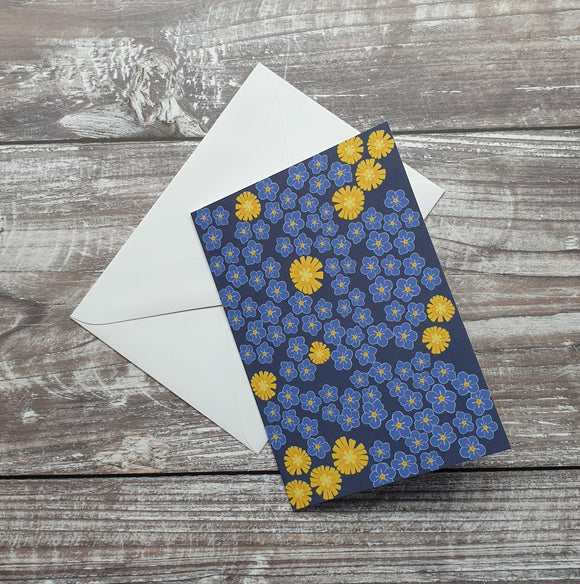 Forget-Me-Not and Dandelion Greeting Card
