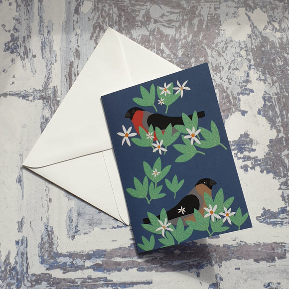 Bullfinches Notelet Greeting Card