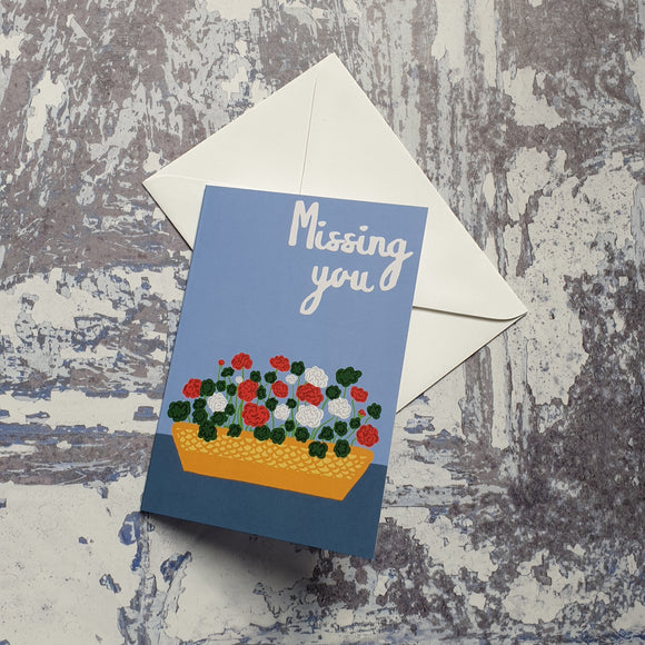 Geraniums Missing You Greeting Card