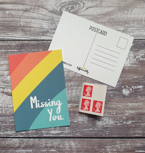 Missing You Rainbow Postcard