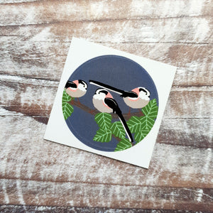 Long Tailed Tits 38mm Vinyl Sticker