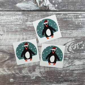 Christmas Hat Penguin 38mm Vinyl Sticker