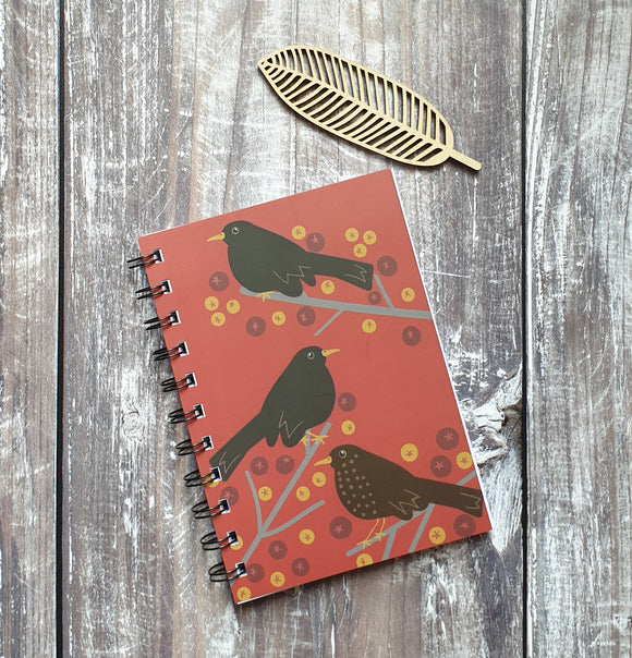 Blackbirds and Berries - Spiced Red Notebooks