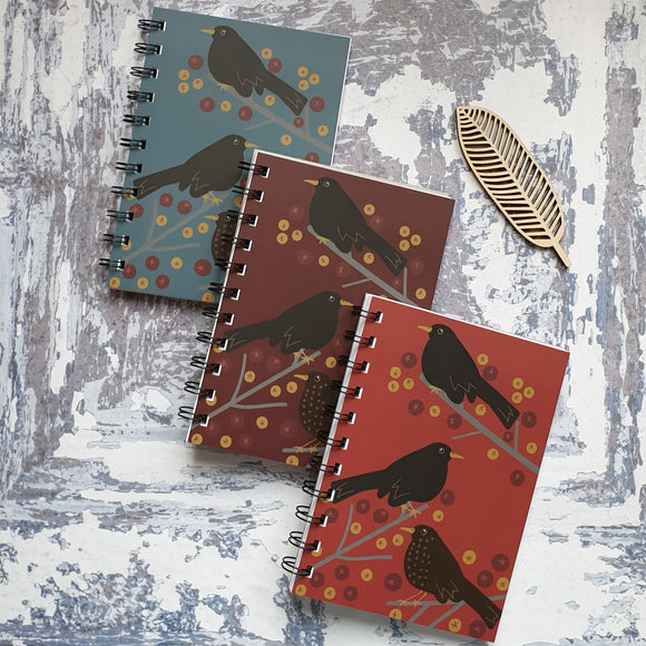 Blackbirds and Berries - Sky Blue Notebooks
