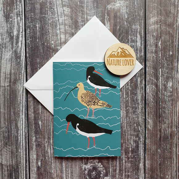 Curlew and Oystercatcher Greeting Card