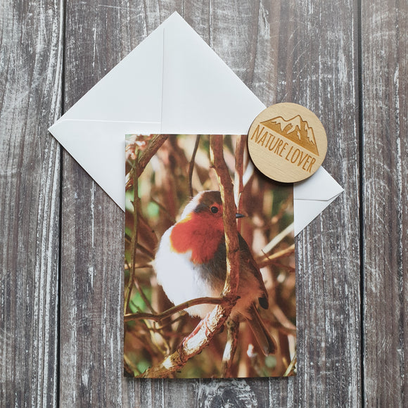 Shy Robin Photographic Greeting Card
